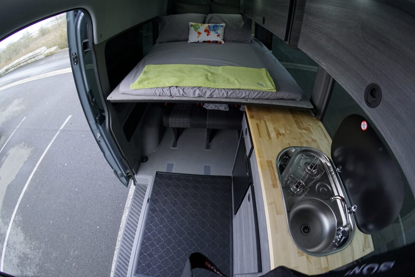 Superfeet Sprinter Van Custom Interior - Kitchen!
