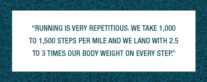 Running is very repetitious. We take 1,000 to 1,500 steps per mile and we land with 2.5 to 3 times our body weight with every step.