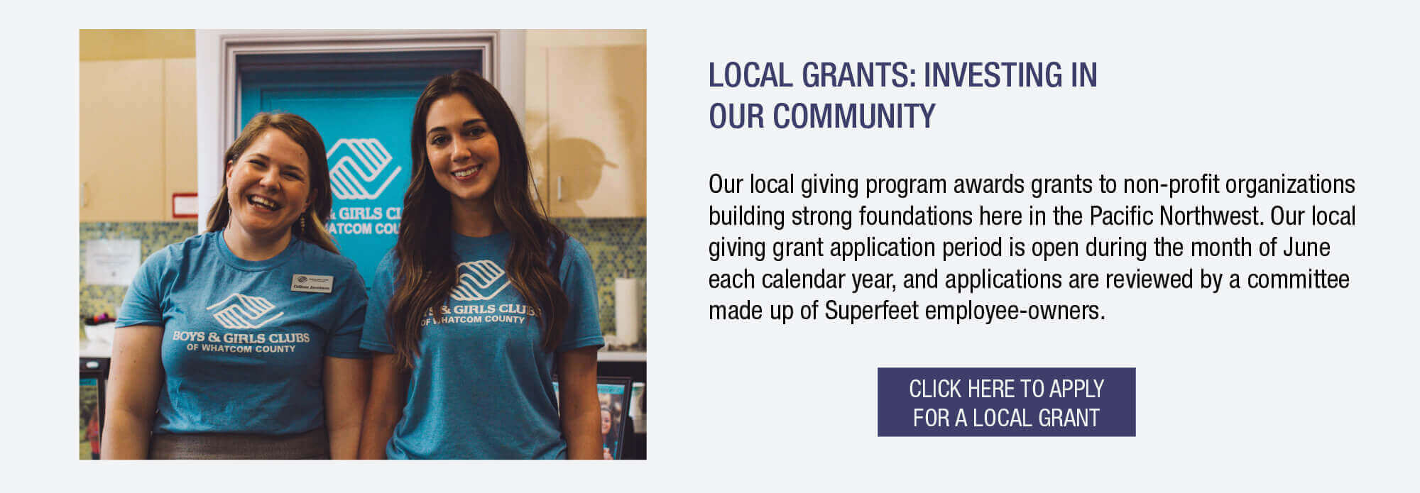 Our local giving program awards grants to non-profit organizations building strong foundations here in the Pacific Northwest. Our local giving grant application period is open during the month of June each calendar year.