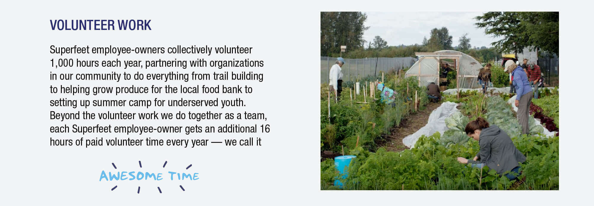 Superfeet employee-owners collectively volunteer 1,000 hours each year, partnering with organizations in our community to fo everything from trail building to helping grow produce for the local food bank.