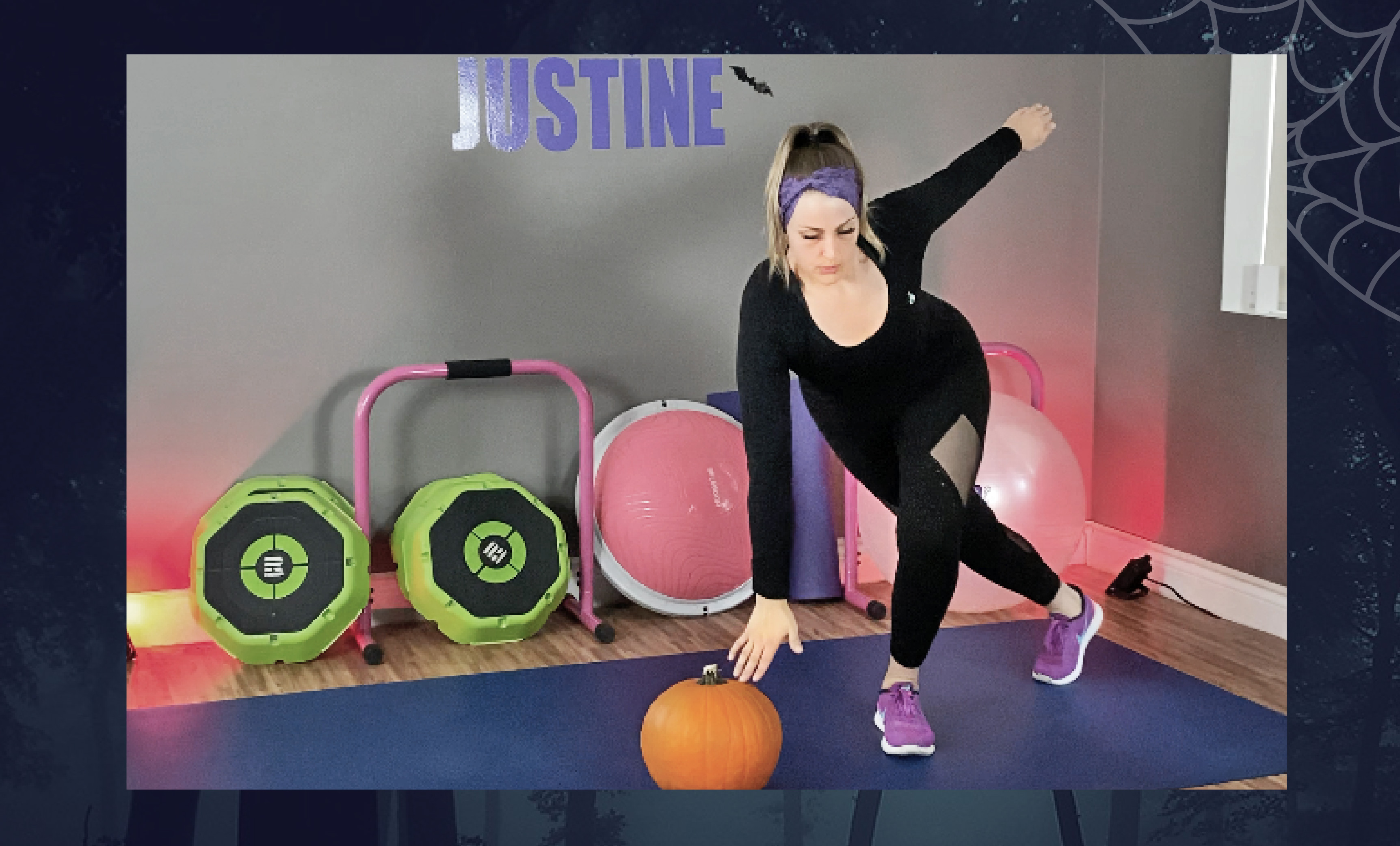 Halloween at-home curtsy lunges