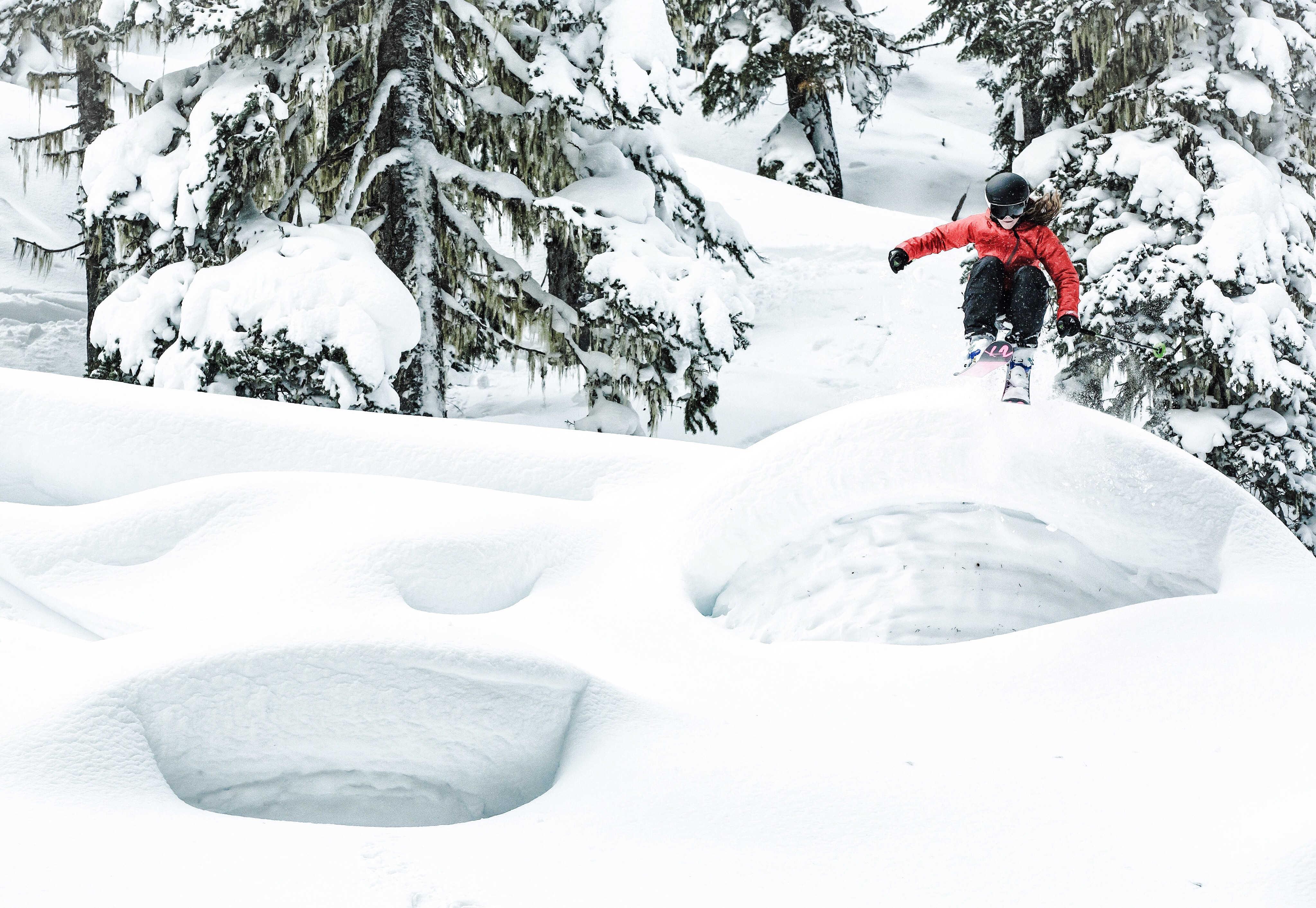 Shannon Mahre skiing on a powder day