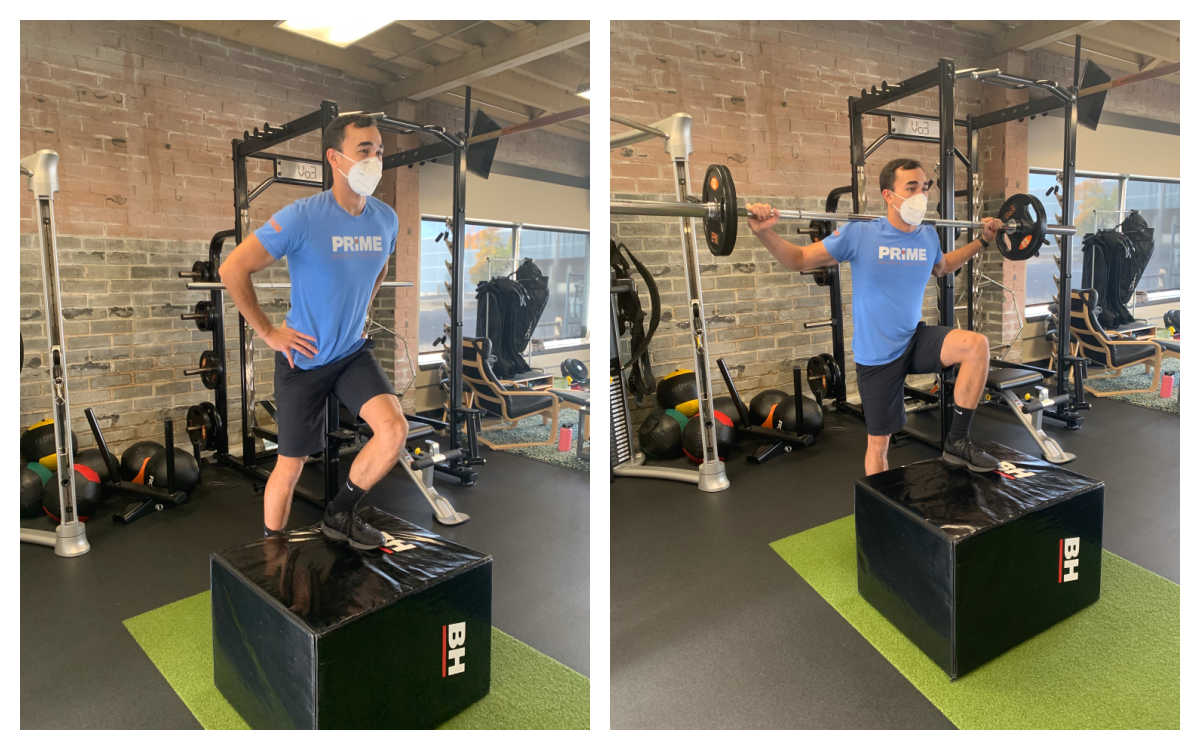 Box step up and box step down with barbell