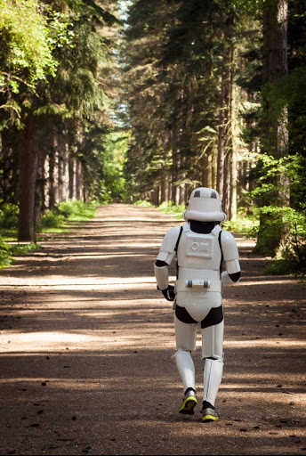 Stormtrooper running through the woods