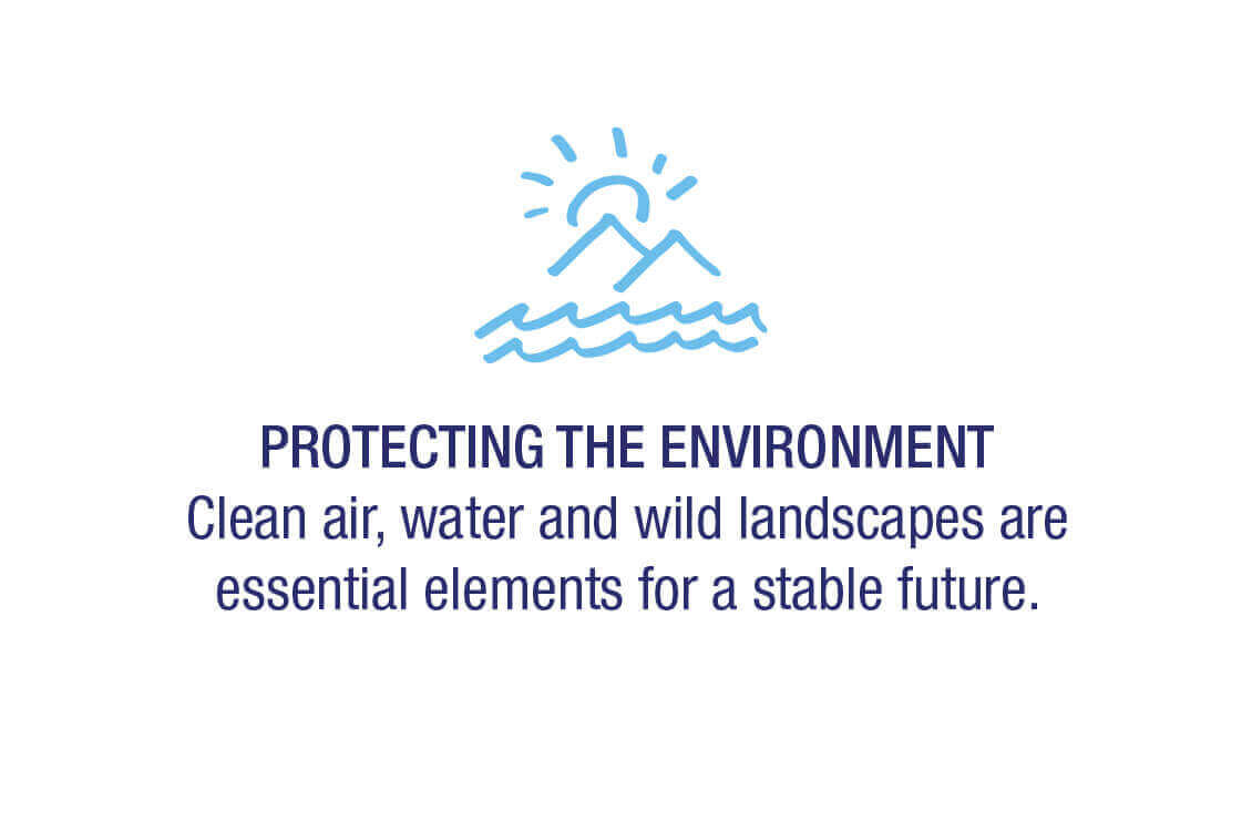 Protecting the environment - Clean air, water, and wild landscapes are essential elements for a stable future.