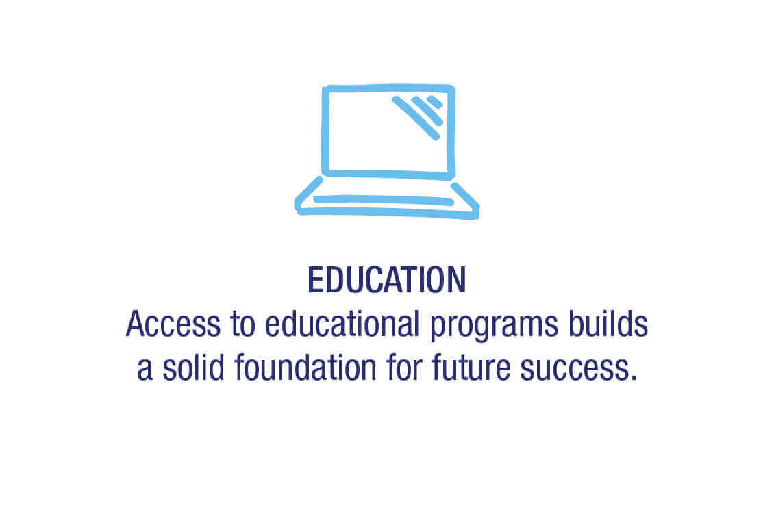 Education -  Access to educational programs builds a solid foundation for future success.