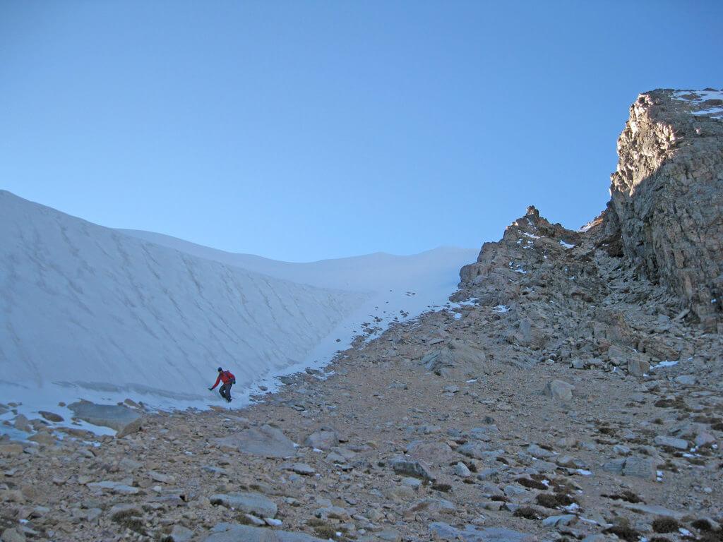 Descending Boulder Grand Pass in August by James  Dziezynski