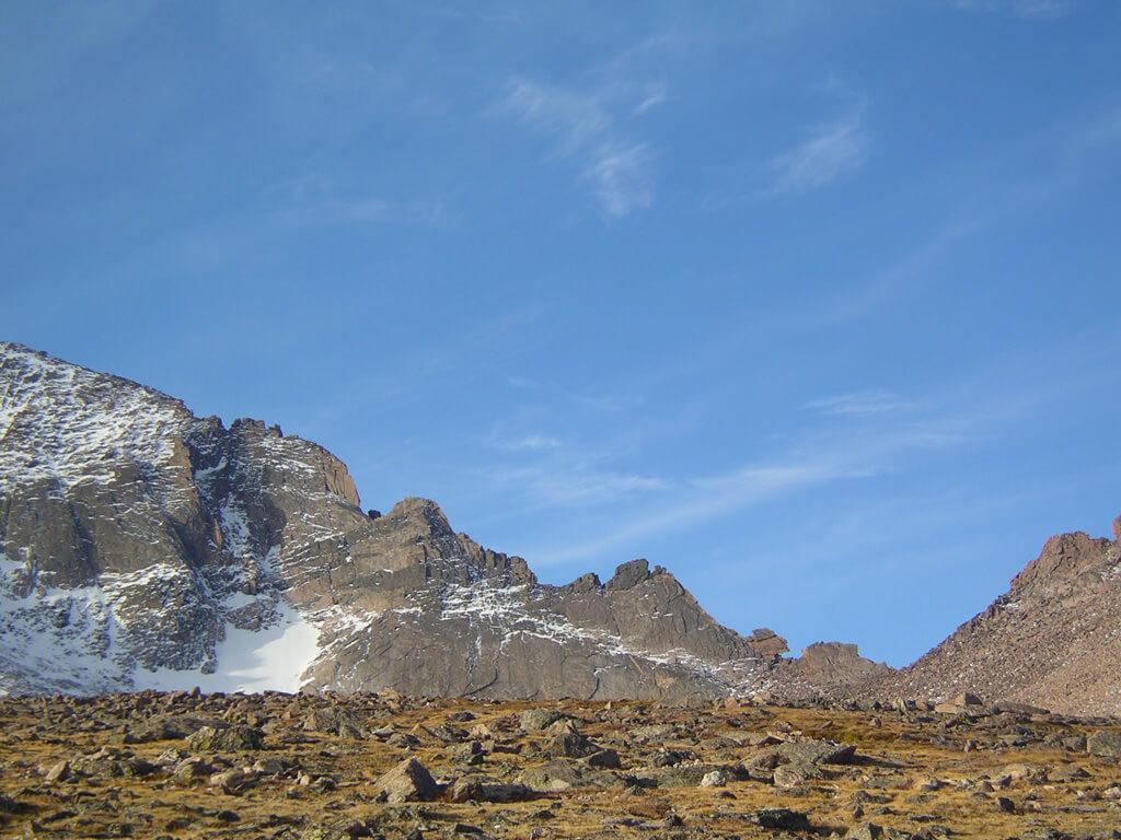 The Keyhole on Longs Peak, a popular turnaround point for runners. James Dziezynski