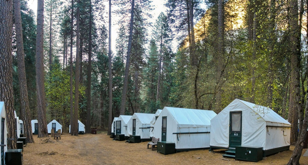 With cozy, heated canvas tents and restrooms, Half Dome Village is one of Yosemite's most popular accommodations. Miguel Vieira